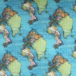 Teplákovina modro-zelená mapa světa - digitální tisk