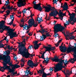 Teplákovina červené berušky a červené květy- digitální tisk