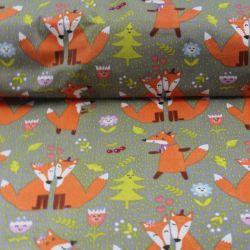 Bavlna s oranžovými liškami vyrobeno v EU- atest pro děti bavlna