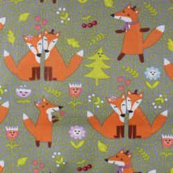 Bavlna s oranžovými liškami