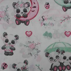 Bílá bavlna s roztomilými pandami