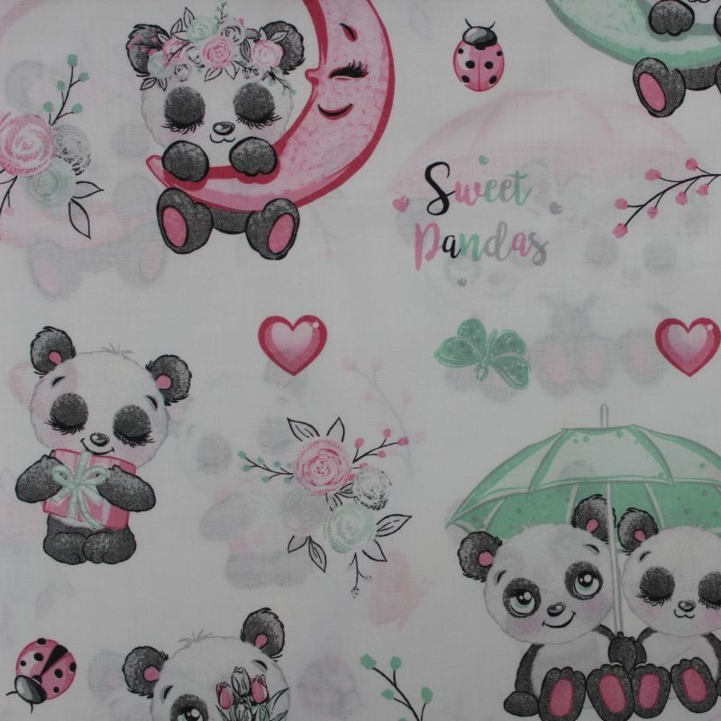 Bílá bavlna s roztomilými pandami vyrobeno v EU- atest pro děti bavlna