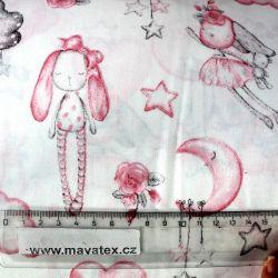 Bílá bavlna se zajíčky a medvídky vyrobeno v EU- atest pro děti bavlna