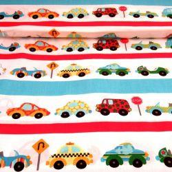 Bílá bavlna s barevnými autíčky
