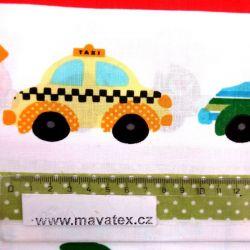 Bílá bavlna stroje - dětská látka, dětská metráž, látka auto vyrobeno v EU- atest pro děti bavlna