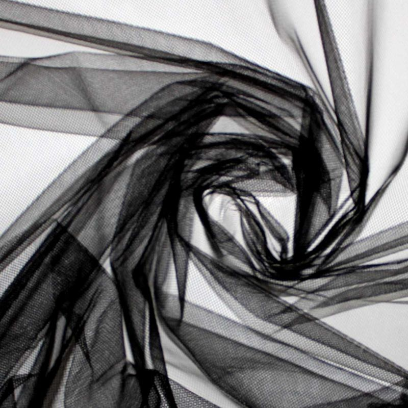 Černý tyl - úplet tyl, látka na tutu sukýnky vyrobeno v EU