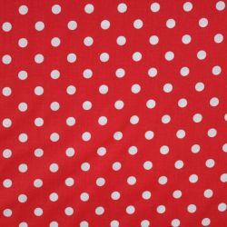 Červená bavlna se středními bílými puntíky -1,1 cm