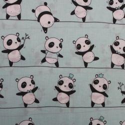 Mentolková bavlna s pandami