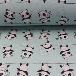 Mentolková bavlna s pandami vyrobeno v EU- atest pro děti bavlna