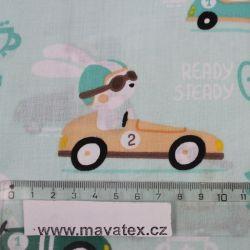 Mentolková bavlna zajíci v autě vyrobeno v EU- atest pro děti bavlna