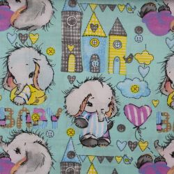 Modrá bavlna s barevnými sloníky vyrobeno v EU- atest pro děti bavlna