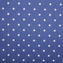Modrá marina bavlna s malými bílými hvězdičkami