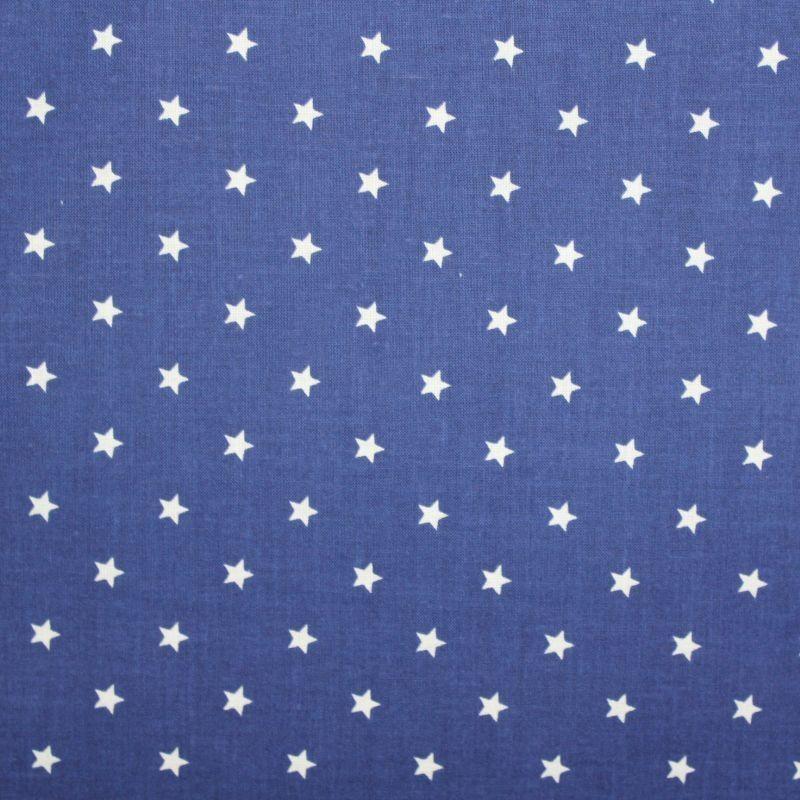 Modrá marina bavlna s malými bílými hvězdičkami vyrobeno v EU- atest pro děti bavlna