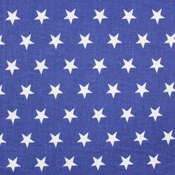 Modrá marina bavlna se středními bílými hvězdičkami