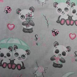 Šedá bavlna s roztomilými pandami