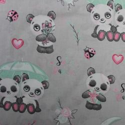 Šedá bavlna s roztomilými pandami vyrobeno v EU- atest pro děti bavlna