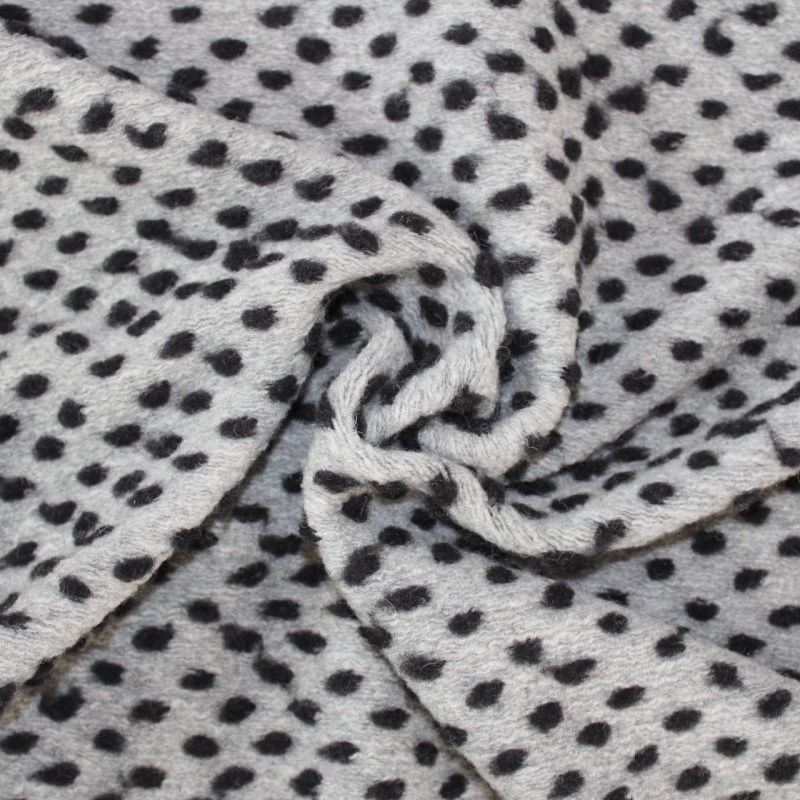 Šedá vlněná látka s černými puntíky - látka na kabátek vyrobeno v EU