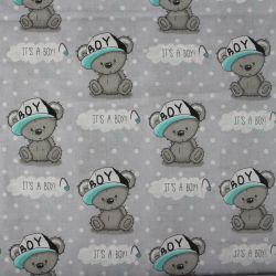 """Světle šedá bavlna s medvídky - """"it is boy """""""