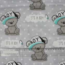"""Světle šedá bavlna s medvídky - """"it is boy """" vyrobeno v EU- atest pro děti bavlna"""