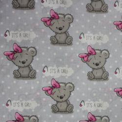 """Světle šedá bavlna s medvídky - """"it is girl """""""