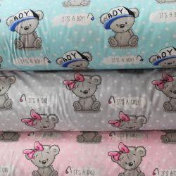 """Světle šedá bavlna s medvídky - """"it is girl """" vyrobeno v EU- atest pro děti bavlna"""