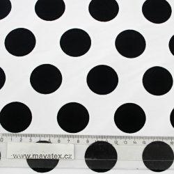 Teplákovina bílá s velkými černými puntíky EU-úplety atest pro děti