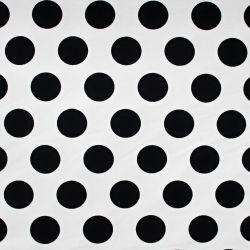 Teplákovina bílá s velkými černými puntíky