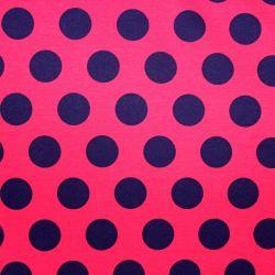 Teplákovina červená s velkými černými puntíky