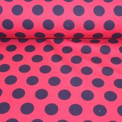 Teplákovina červená s velkými černými puntíky EU-úplety atest pro děti
