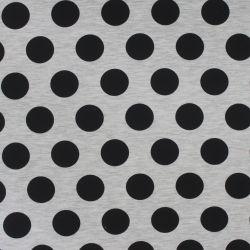 Teplákovina optik mellange s velkými černými puntíky