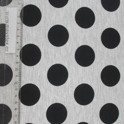 Teplákovina optik mellange s velkými černými puntíky EU-úplety atest pro děti