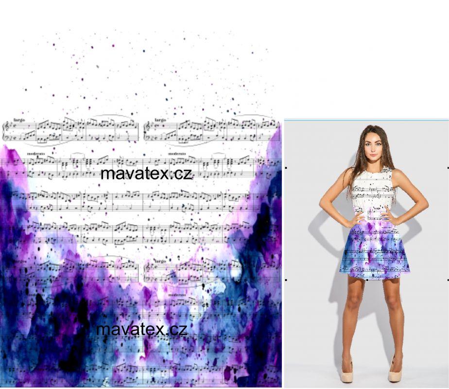 Panel na šaty – noty na fialové batice - úplet EU-úplety atest pro děti