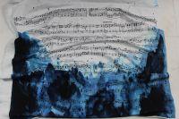 Panel na šaty – noty na modré batice -úplet EU-úplety atest pro děti