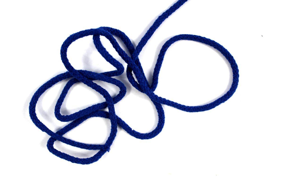 Kulatá tkanice královská modrá bavlněná- 0,5 cm vyrobeno v EU