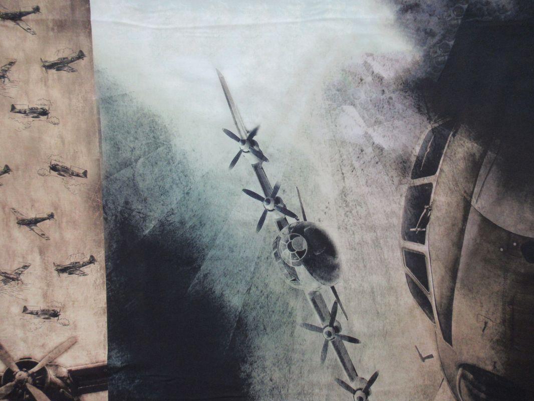 Panel na triko velký- letec v poušti vyrobeno v EU