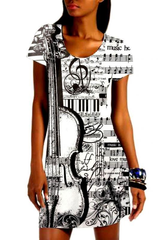 Panel na šaty - viola s notami EU-úplety atest pro děti