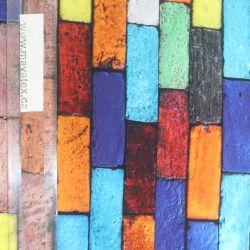 Teplákovina barevné cihličky-digitální tisk EU-úplety atest pro děti