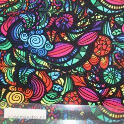 Teplákovina barevné ornamenty - digitální tisk EU-úplety atest pro děti
