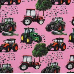 Teplákovina růžová s traktory- digitální tisk