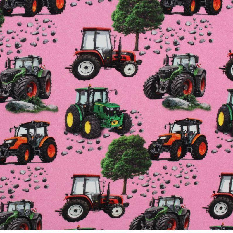 Teplákovina růžová s traktory- digitální tisk EU-úplety atest pro děti
