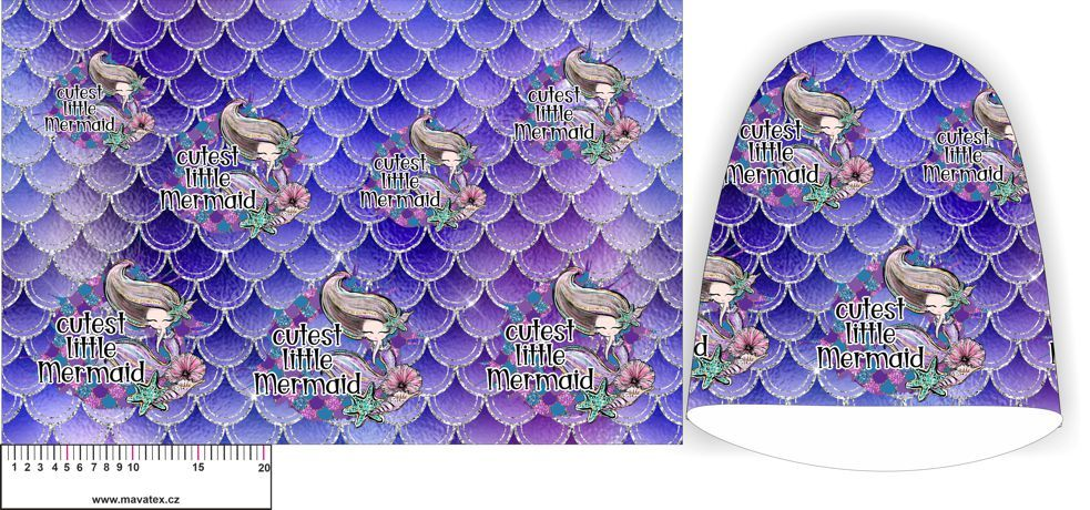 Panel na čepice - fialové šupiny + mořská víla vyrobeno v EU