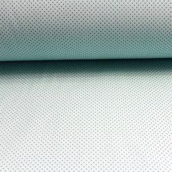 Mentolková bavlna s malými tmavými puntíky vyrobeno v EU- atest pro děti bavlna