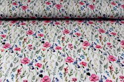 Bílá bavlna - akvarelové luční květy vyrobeno v EU