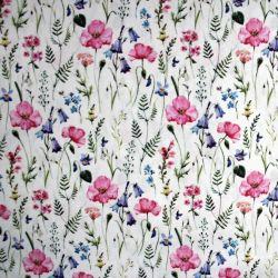 Bílá bavlna - akvarelové luční květy