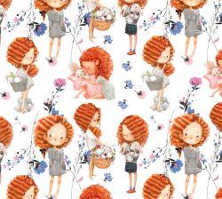 Softshell Lora na bílé s květy- digitální tisk