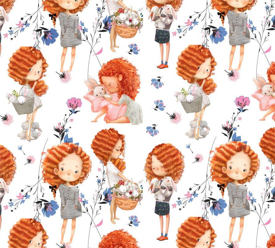 Softshell Lora na bílé s květy- digitální tisk mavaga design