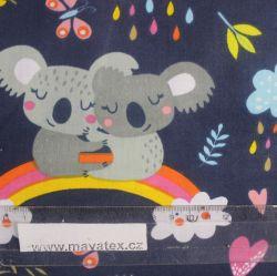 Bavlna koaly šedé s duhou na tmavě modré vyrobeno v EU- atest pro děti bavlna