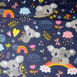 Bavlna koaly šedé s duhou na tmavě modré