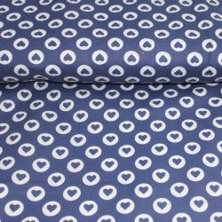 Modrá bavlna se srdíčky vyrobeno v EU- atest pro děti bavlna