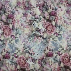 Teplákovina zmrzlé květy a šišky - digitální tisk